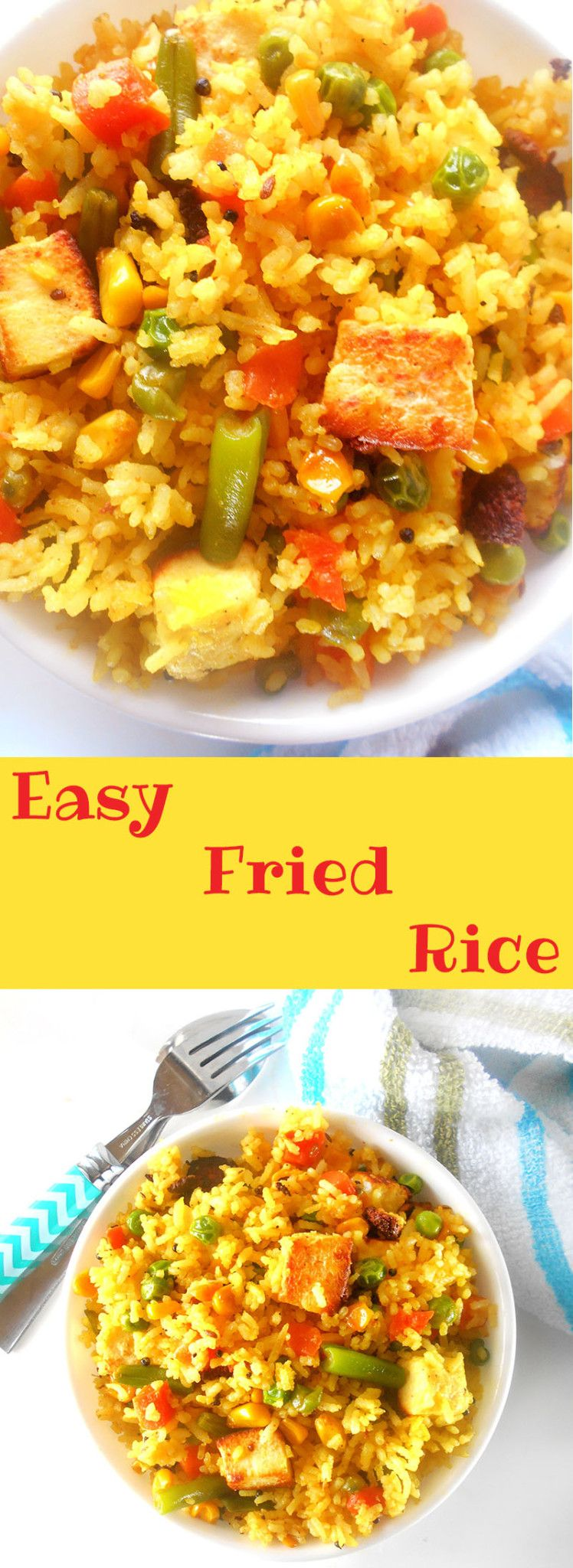 How to make fried rice (vegan version): This is the easiest way to make vegetarian fried rice. Perfect for weeknight family meals. I added tofu and made it spicy