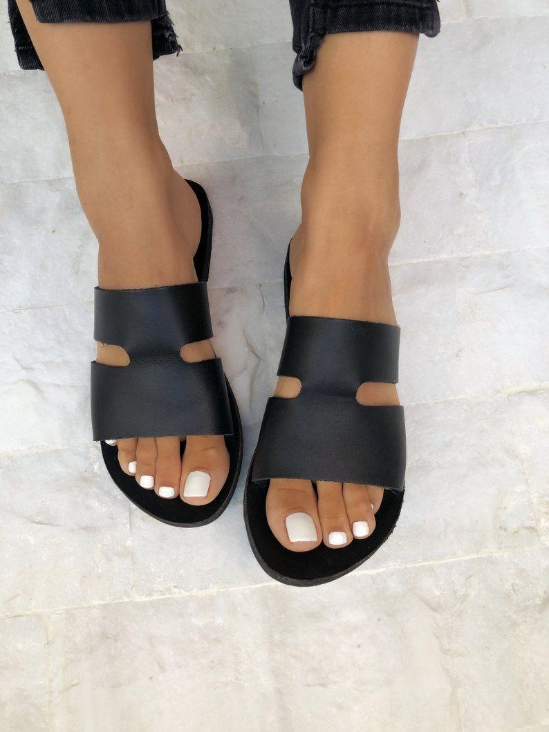 Leather Sandals, Black Leather Sandals