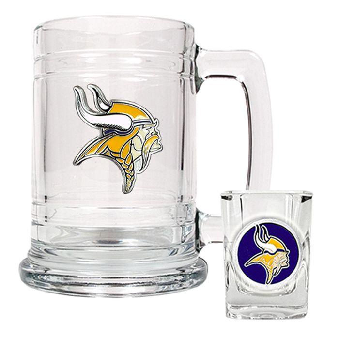 Minnesota Vikings Nfl Glass Beer Tankard Mug Shot Glass Boilermaker Set Vikings Beer Nfl Beer Shot Glass Set