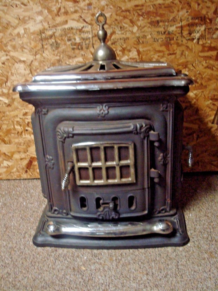 Details about Antique Cast Iron Wood Burning Parlor Stove | Outdoor