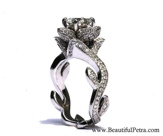 Blooming Work Of Art Milgrain Flower Rose Lotus Diamond Engagement Ring Semi Mou Unique Engagement Rings Unique Diamond Engagement Rings Unique Flower Ring