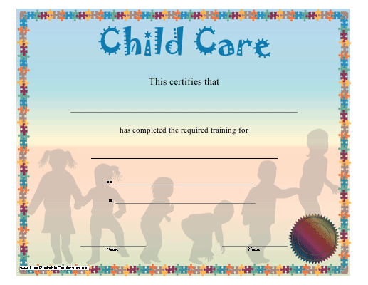 Child Care Certificate Printable Certificate Childcare Training Certificate Child Care Training