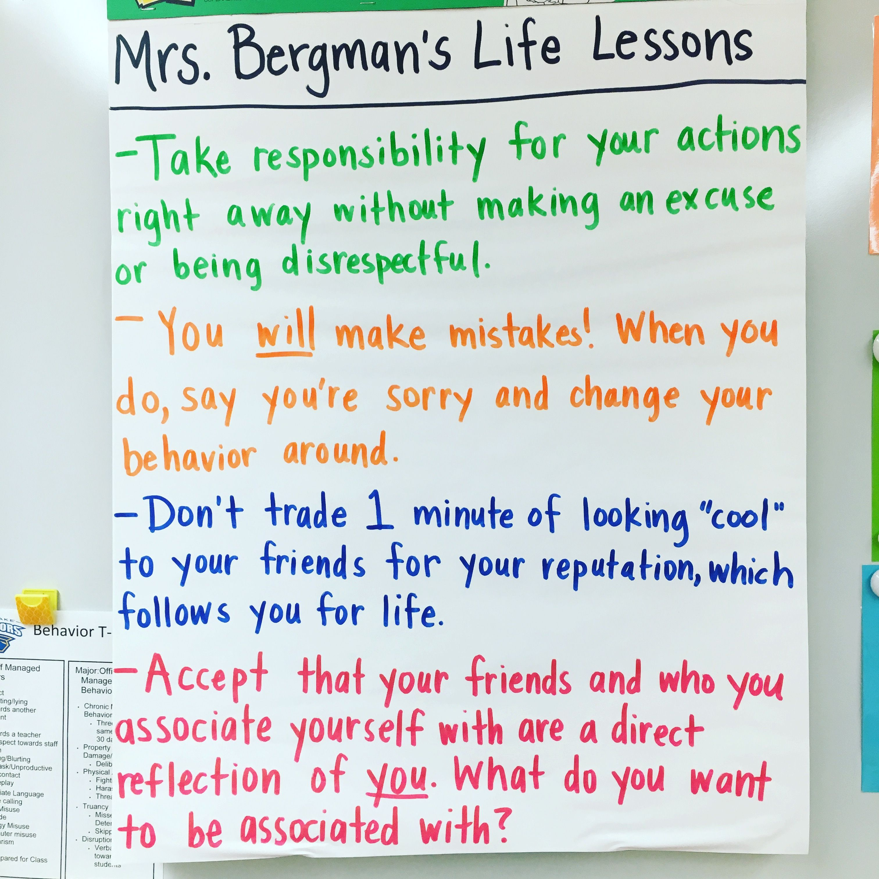 Anchor Chart For Middle School Students On Responsibility