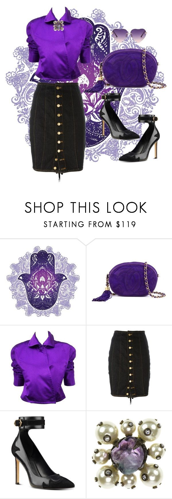 """Vintage purple"" by vettec ❤ liked on Polyvore featuring Chanel, Ralph Lauren, Jean-Paul Gaultier, Nine West and vintage"