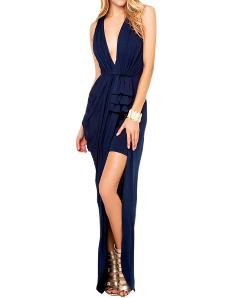 Highwaist deepvneck split ruched maxi dress i wantt pinterest