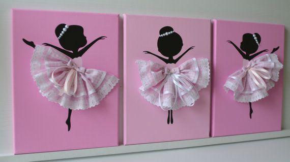 Set of three dancing ballerinas in pink nursery d cor for - Cuadros bailarinas infantiles ...