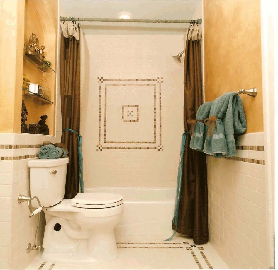 Bathroom, : Terrific White Toilet And Bathtub With Vintage Brown ...