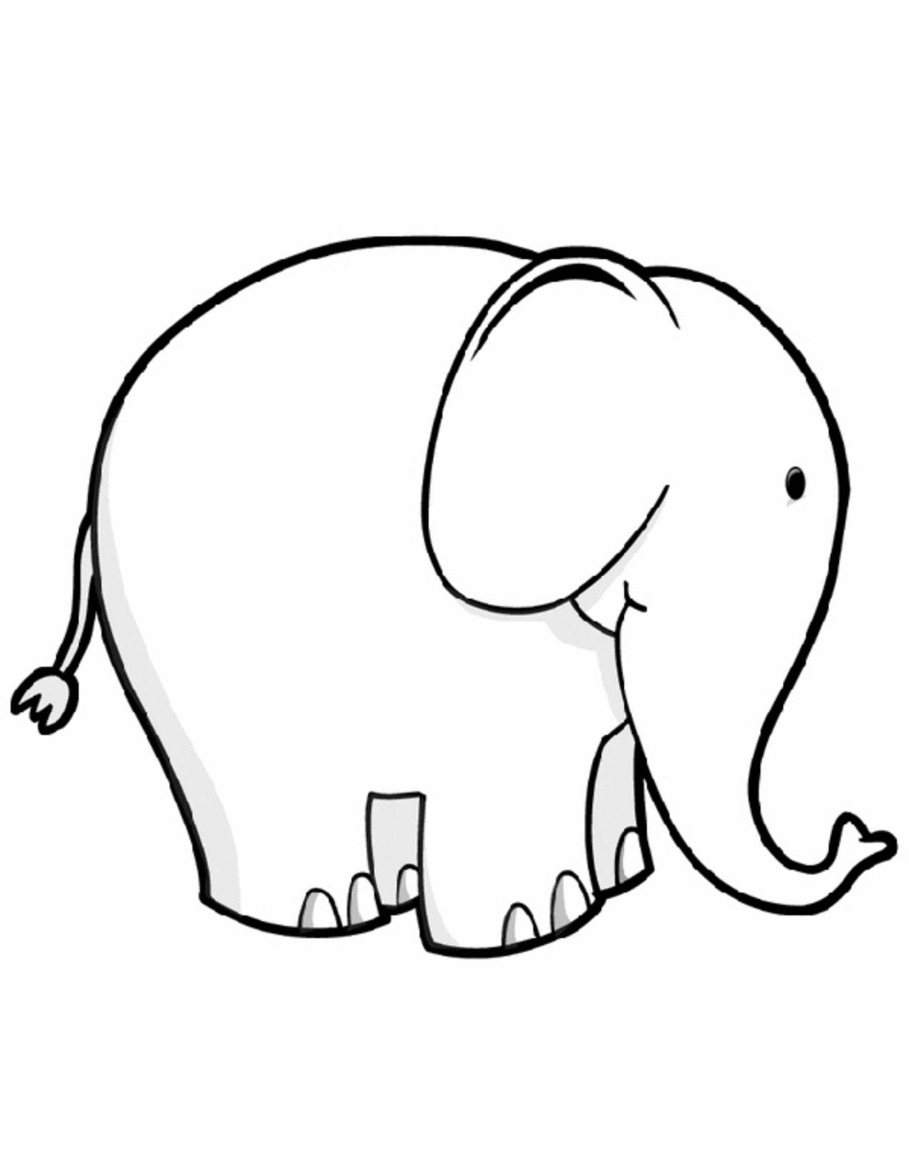 Animal Coloring Pages For Kids Cute Elephant Boyama Sayfalari