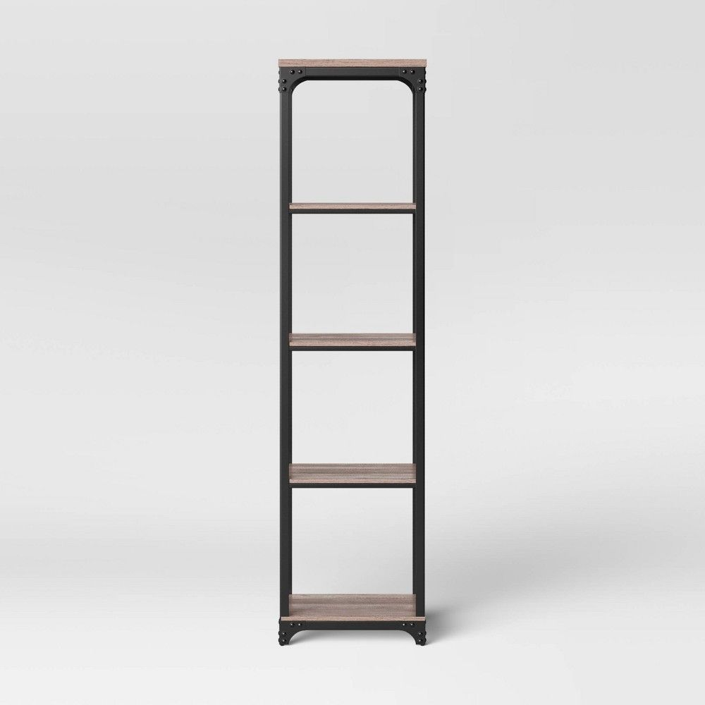 Jackman Industrial Wood Narrow 4 Shelf Bookcase Brown Threshold