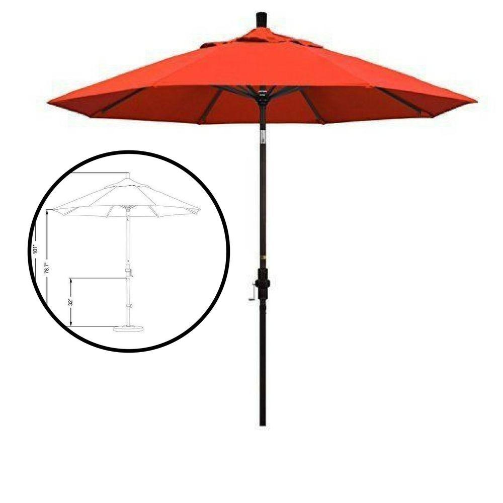 9 ft market umbrella round aluminum patio garden outdoor bronze shade red