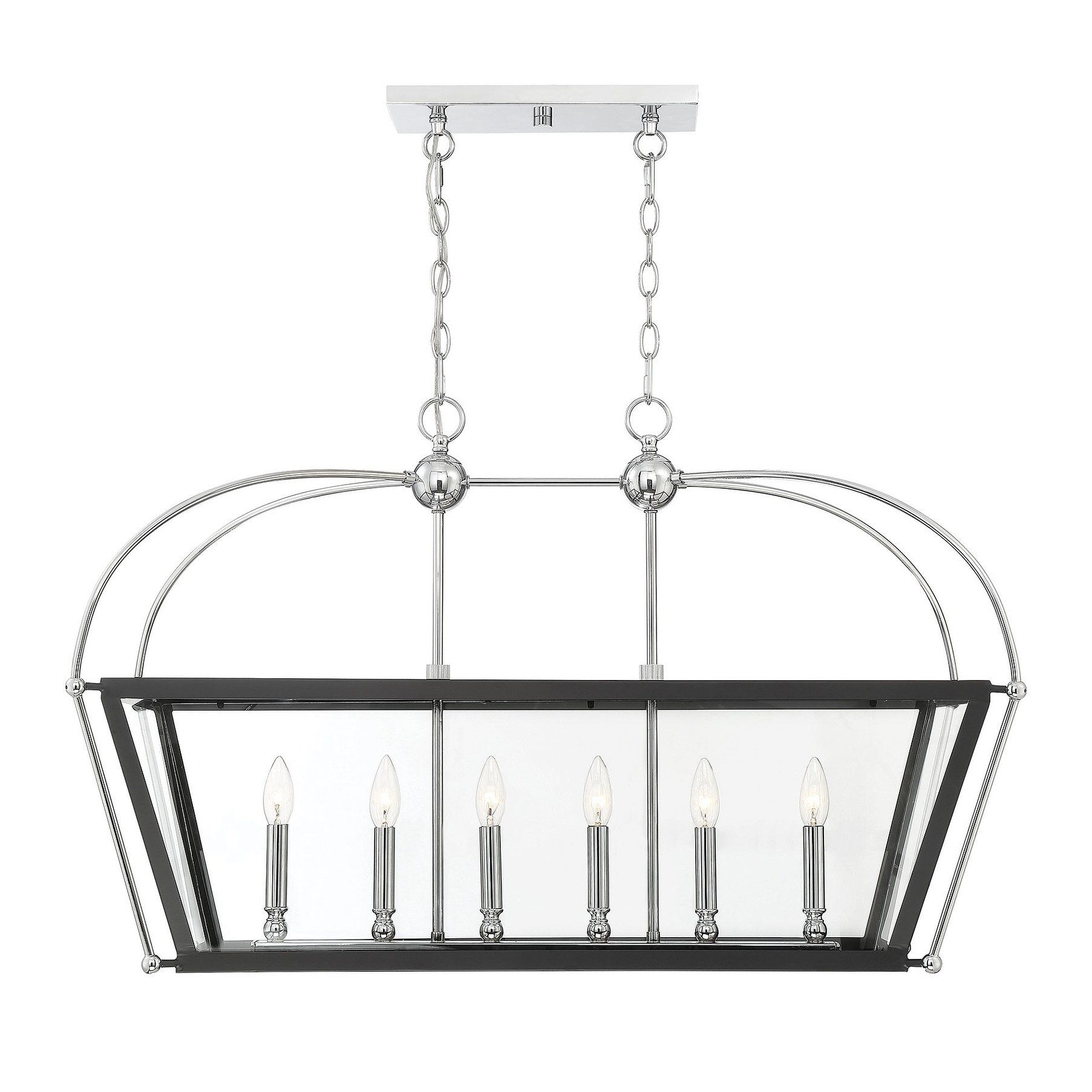 A Matte Black Kitchen Makes A Bold Statement In This: Dunbar Matte Black And Polished Chrome Accents 6-light