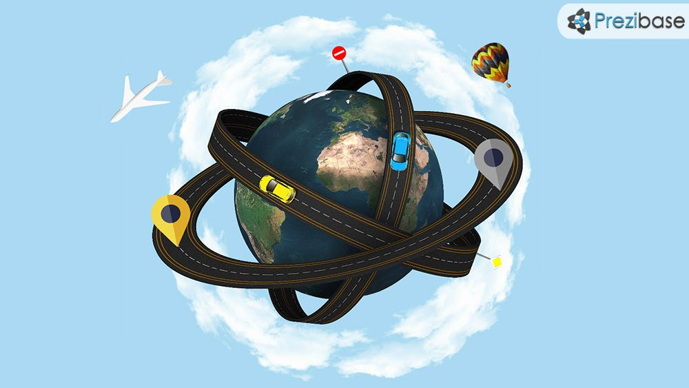 3d world planet as an atom transport road prezi presentation, Presentation templates