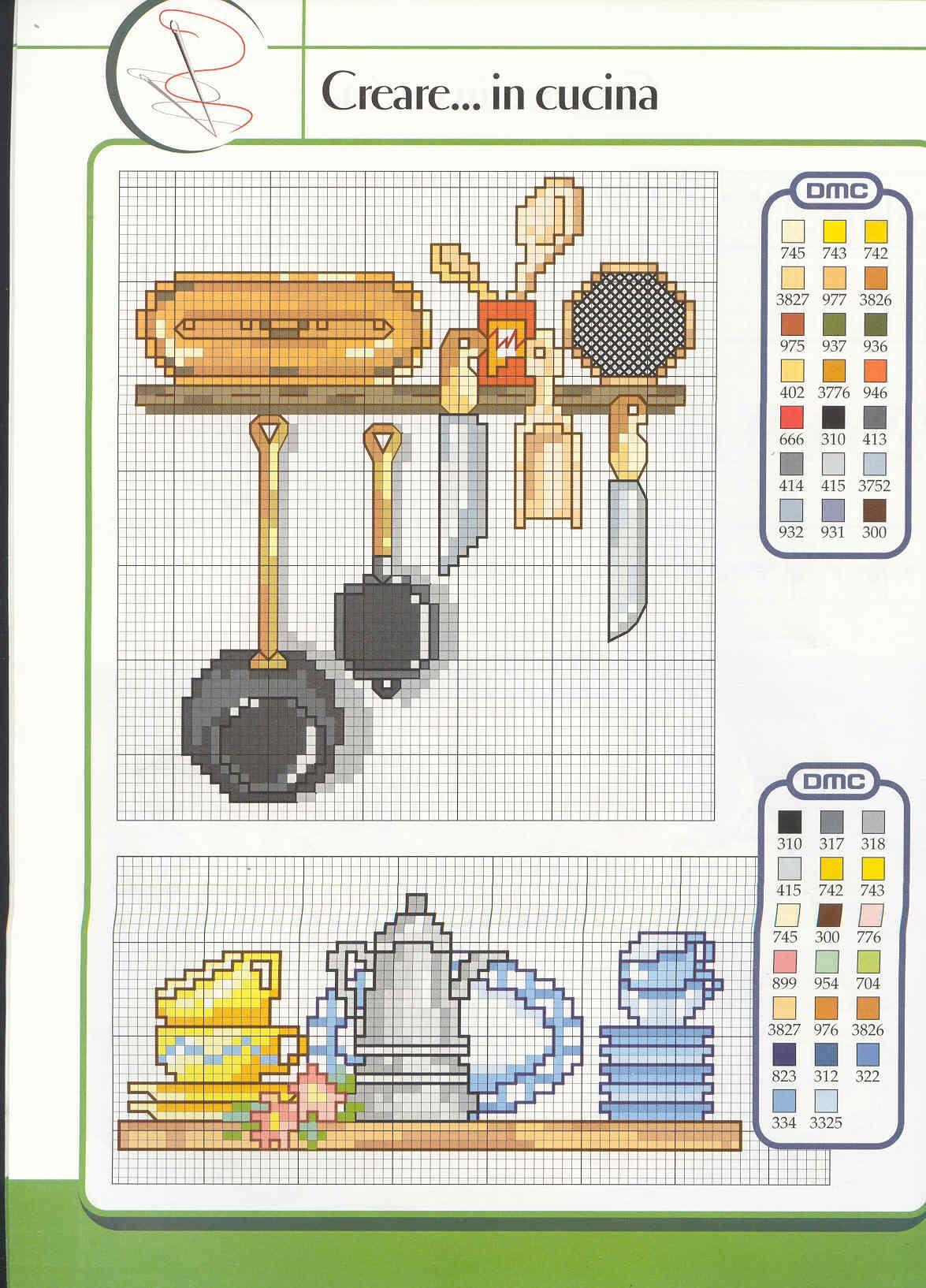 Schema Punto Croce Utensili Cucina 01 Kitchen Stitch Cross