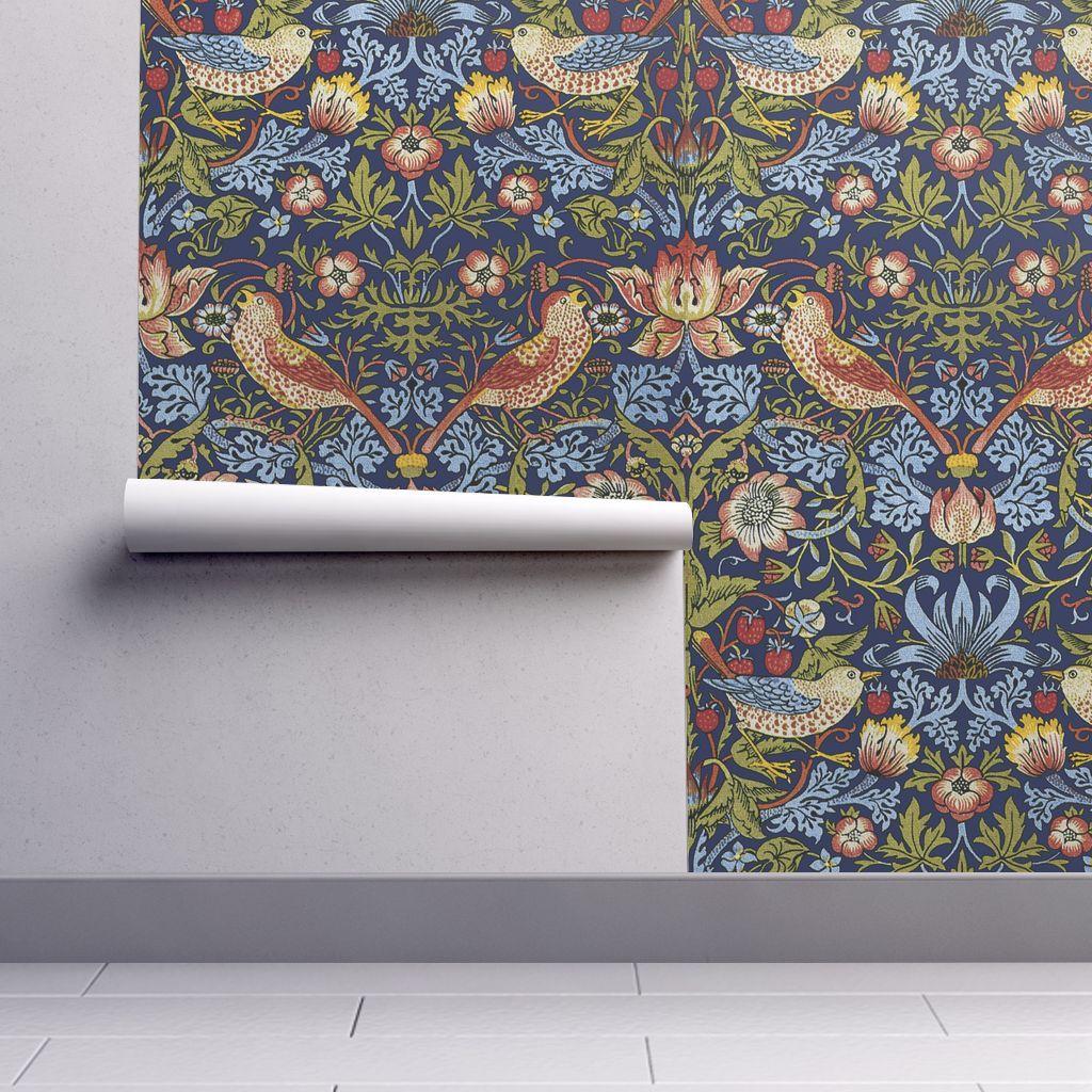 William Morris Strawberry Thief Brig Spoonflower In 2021 Spoonflower Wallpaper Removable Wallpaper Bird Wallpaper
