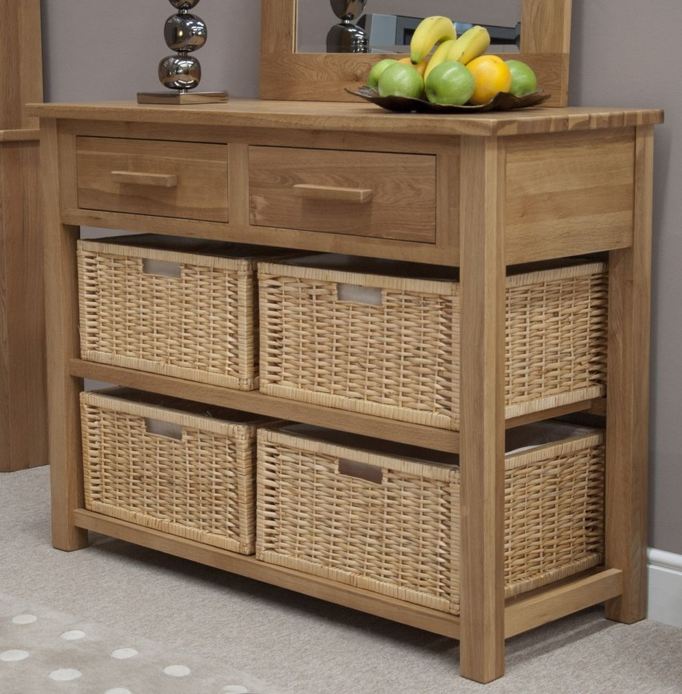 Boston console hall table with baskets solid oak hallway furniture