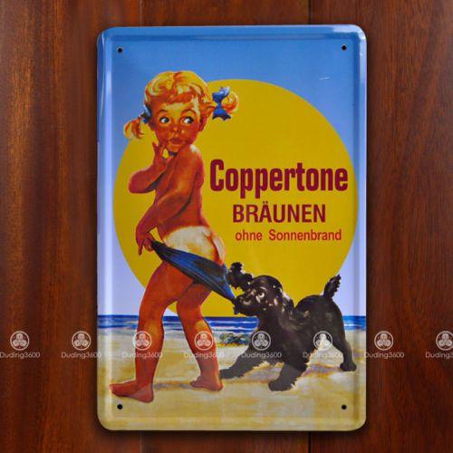 Tin Sign Wall Decor Retro Metal Art Poster Coppertone Girl Sunscreen ...