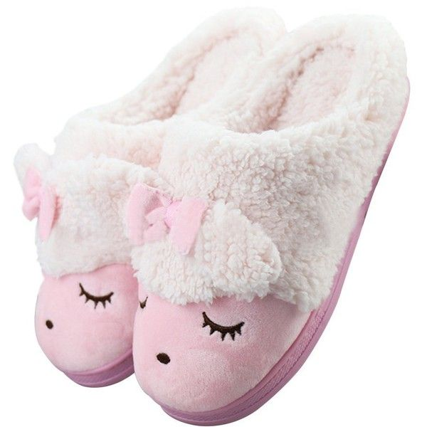 MiYang Women's Sheep Warm Plush Soft Sole Indoor Slipper ($15) ❤ liked on Polyvore featuring shoes and slippers