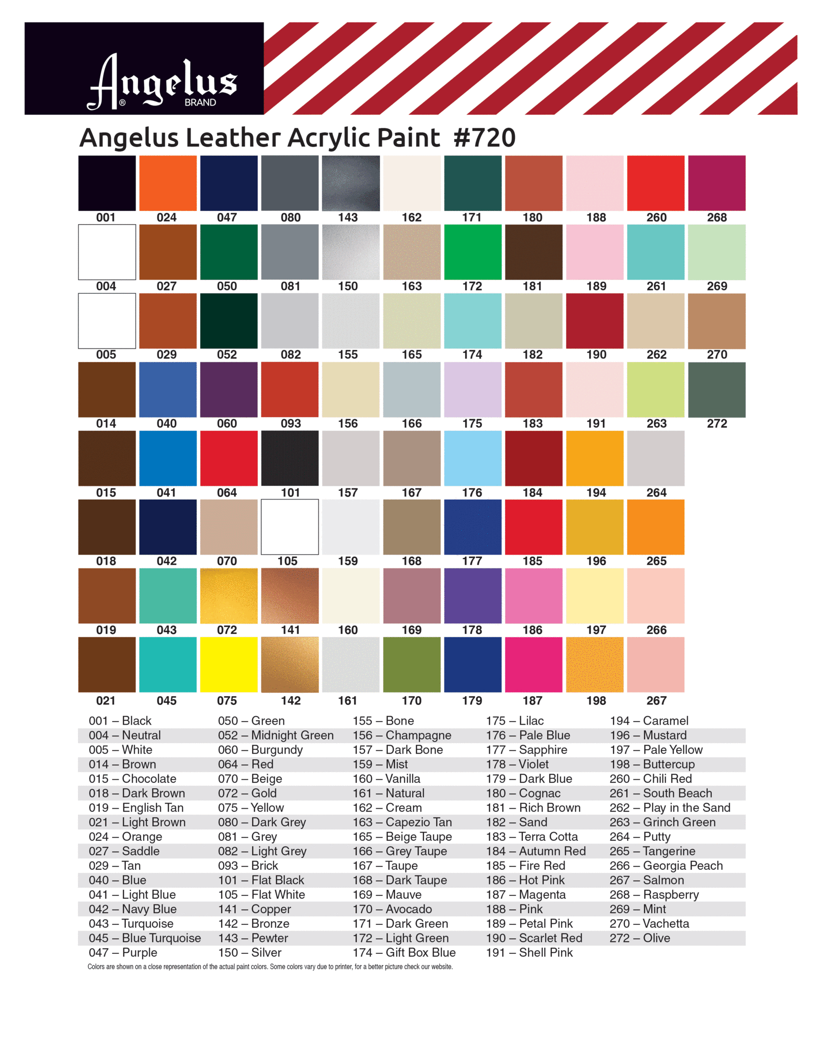 Angelus Paint Color Chart Painting Leather Paint Color Chart Leather Paint