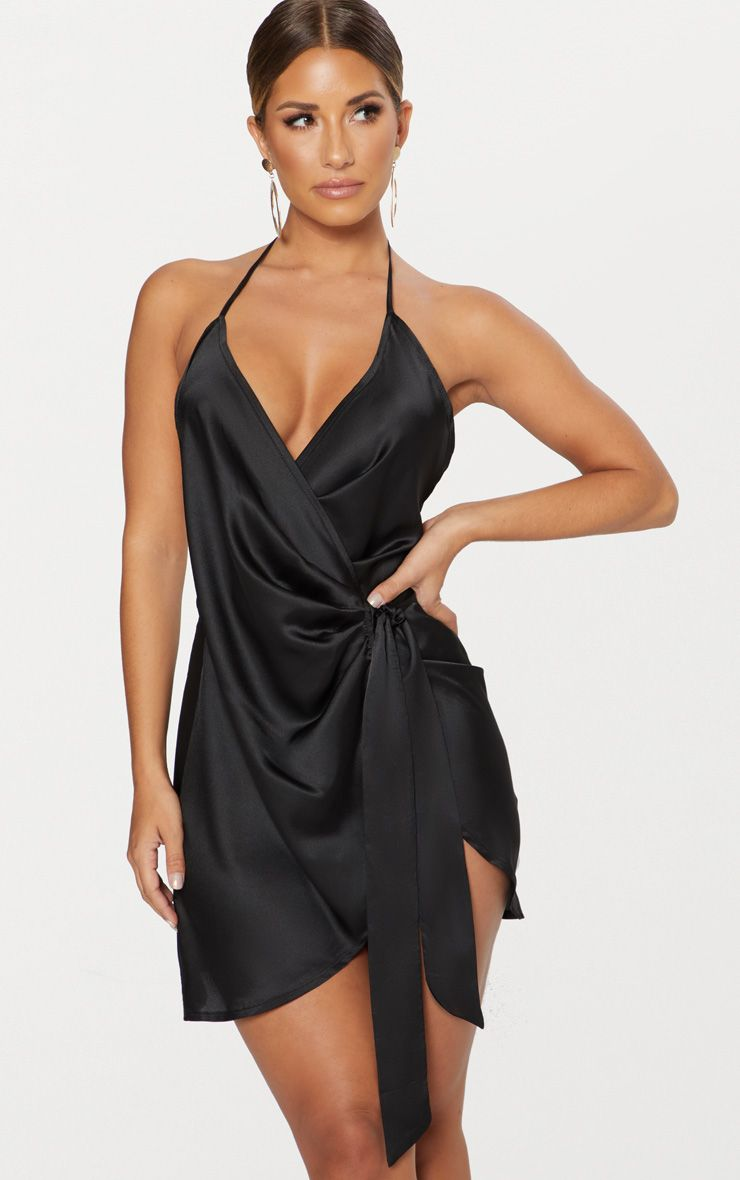 a057d7e3027 Black Satin Halterneck Wrap Bodycon Dress. Shop the range of dresses today  at PrettyLittleThing. Express delivery available. Order now