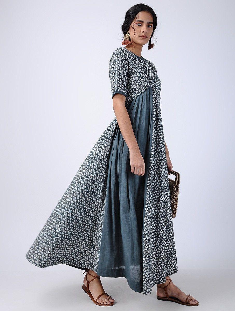 f2d28e98e3a9 Buy Blue Block printed Pleated Cotton Maxi Dress Women Dresses Online at  Jaypore.com