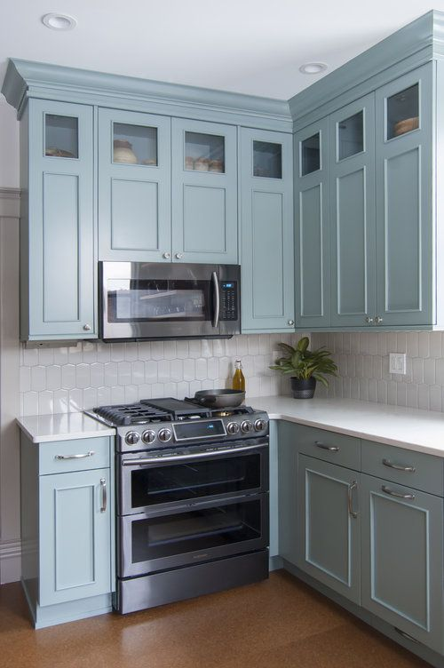 Renovated Kitchen With Painted Brookhaven Cabinets And Quartz Countertops Slide In Gas Range With Ove Kitchen Remodel New Kitchen Cabinets Kitchen Design Open