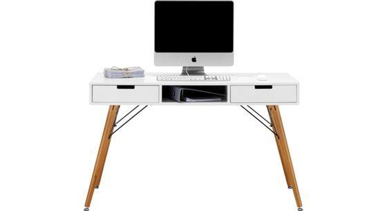 Schreibtisch in Weiß/Braun Pinienholz - Braun/Weiß, LIFESTYLE, Holz - wohnideen und lifestyle