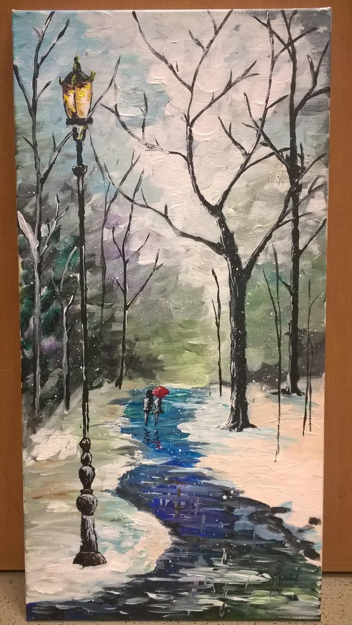 """""""Baby Its Cold Outside"""" 12""""x 24"""" acrylic on canvas"""