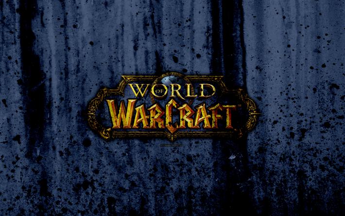 Download Wallpapers World Of Warcraft 4k Logo Grunge Wow Gray Background Wow Logo Besthqwallpapers Com World Of Warcraft Warcraft Grunge