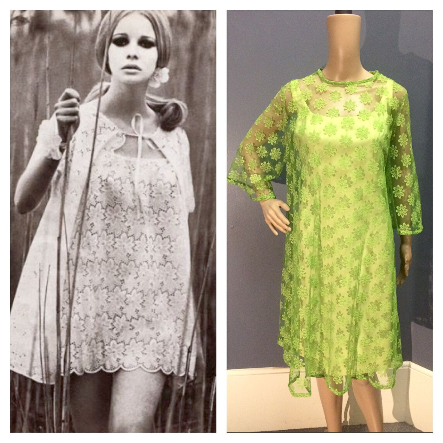 Green dress with lace overlay  DAISY FISHNET LACE us Vintage s Lime Green Wiggle Cocktail