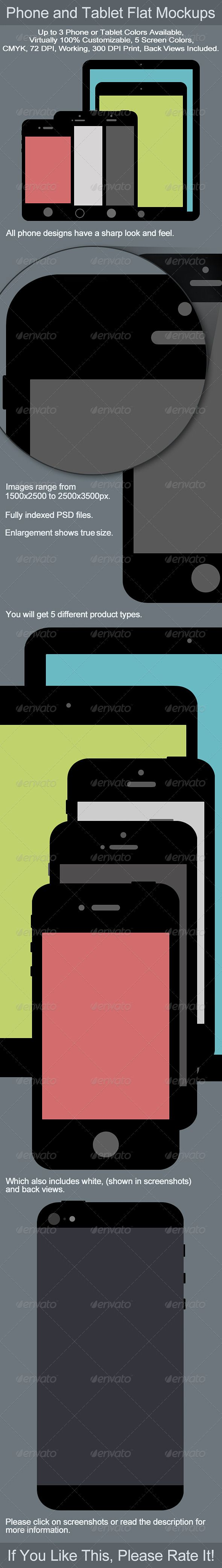 phone and tablet flat mockups mockup phone and business flyer