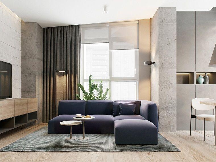 Arredare soggiorno con un divano di colore blu e mobile tv ...