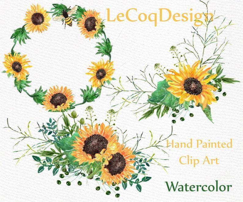 Sunflower Watercolor Wreath Clipart Floral Clipart Romantic