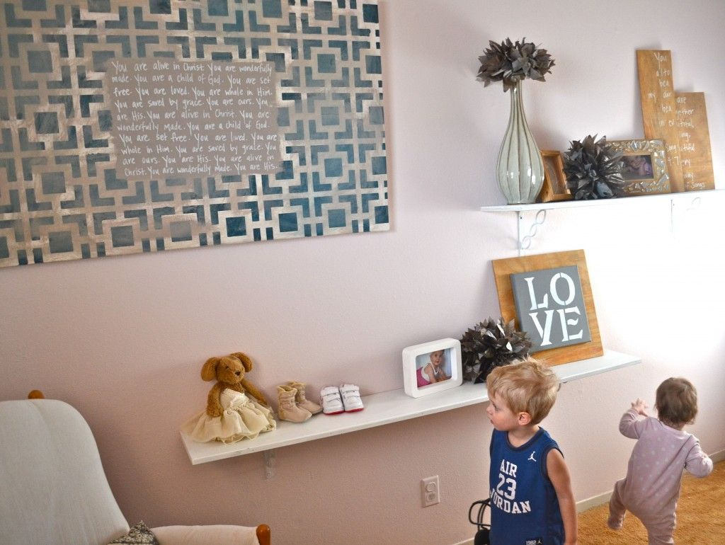 Stenciled & Lettered Canvas Art for a Kid's Room by Lindsay of the Real Home Love blog. She used our Hollywood Squares Stencil to stencil the pattern!