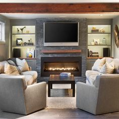 Narrow Family Room With Tv Over Fireplace Basement Living Rooms