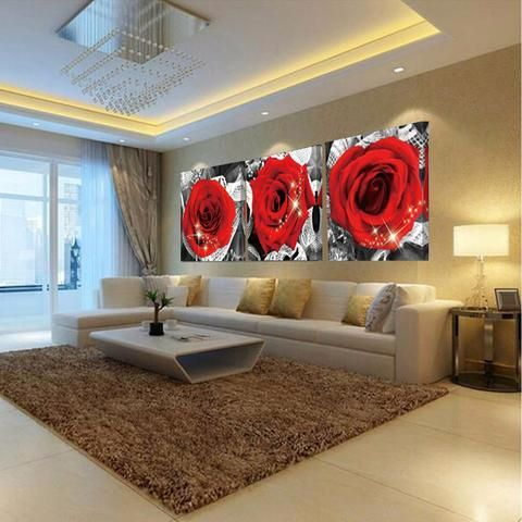 Red Rose Canvas Prints Bedroom Decoration Wall Art Pictures