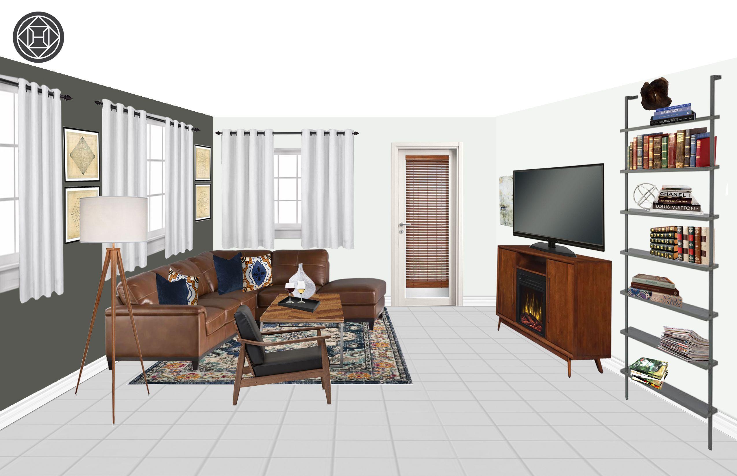 Rustic, Midcentury Modern, Scandinavian Living Room Design by ...