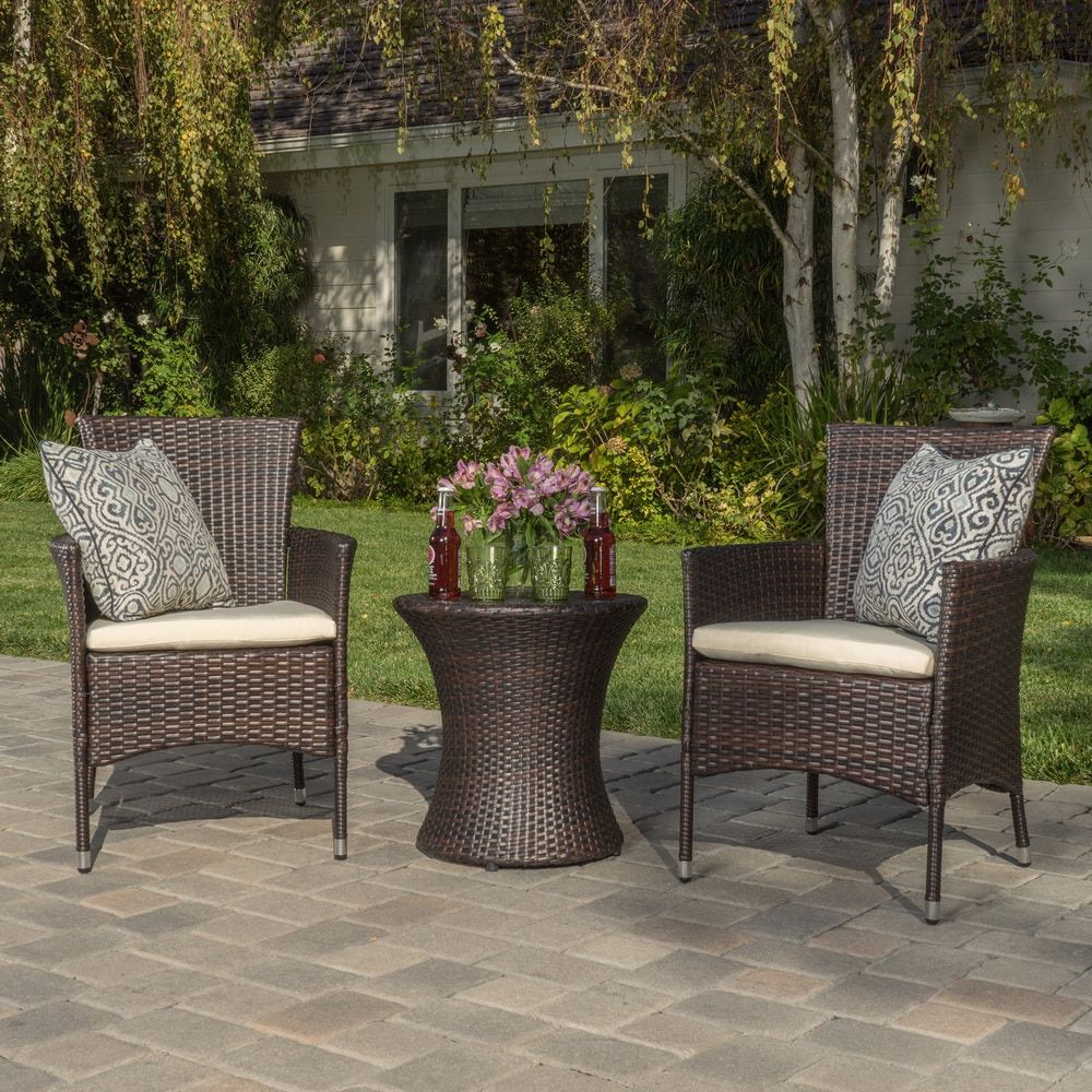 Home garden furniture  piece Outdoor Wicker Chat Set with Cushions by Christopher Knight