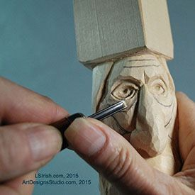 Wood spirit carving carving the wrinkles craft wood