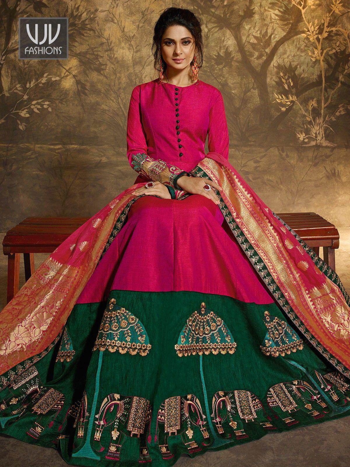 51cf99ad1c77f8 Jennifer Winget Pink Color Embroidered Anarkali Suit in 2019 | me ...