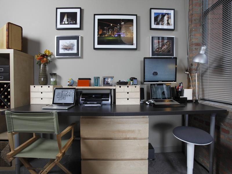 2 Person Home Office Design | Person Desk: Solutions For Designing And Decorating  Your Home Office. I Like The Wall Color.