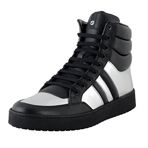 4dbf3a71192 Gucci Mens Black And Silver Leather High Top Fashion Sneakers Size 8