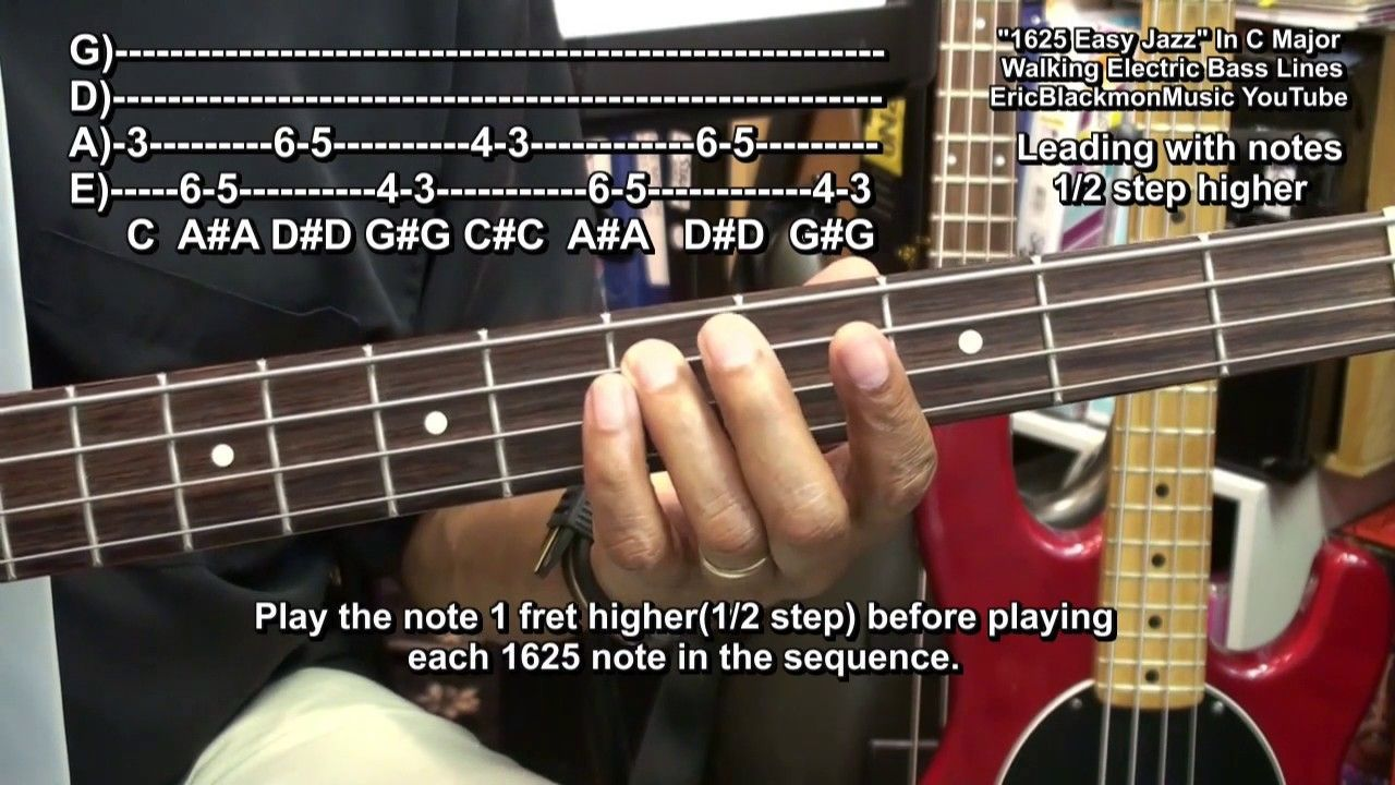 How To Play Easy Walking Bass Guitar 1625 Jazz Bass Lines Riffs Ericblac Bassguitar Guitar Lessons Songs Bass Guitar Lessons Bass Guitar Chords