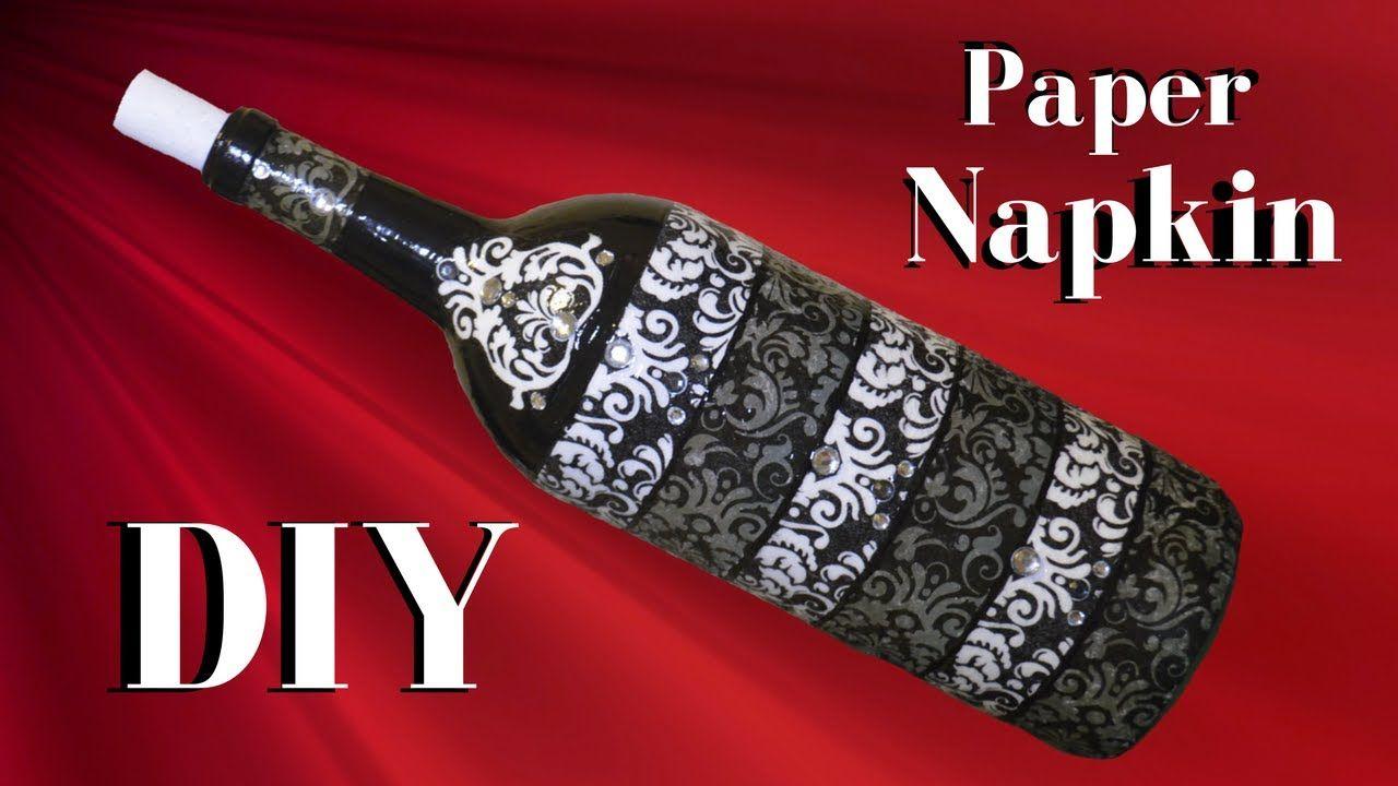 Diy Decoupage Wine Bottle With Rhinestones Decor 3 Of 5 Hd Diy Decoupage Wine Bottles Wine Bottle Diy Glass Bottle Diy