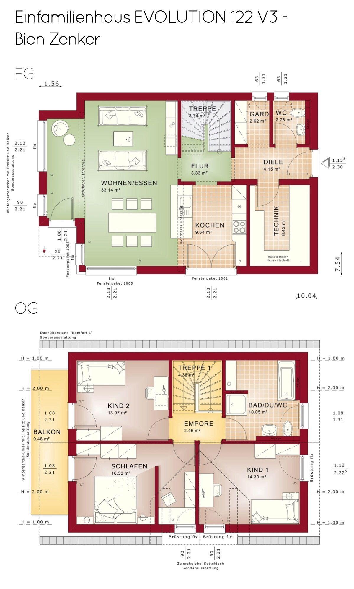 Grundriss Einfamilienhaus mit Satteldach & Zwerchgiebel