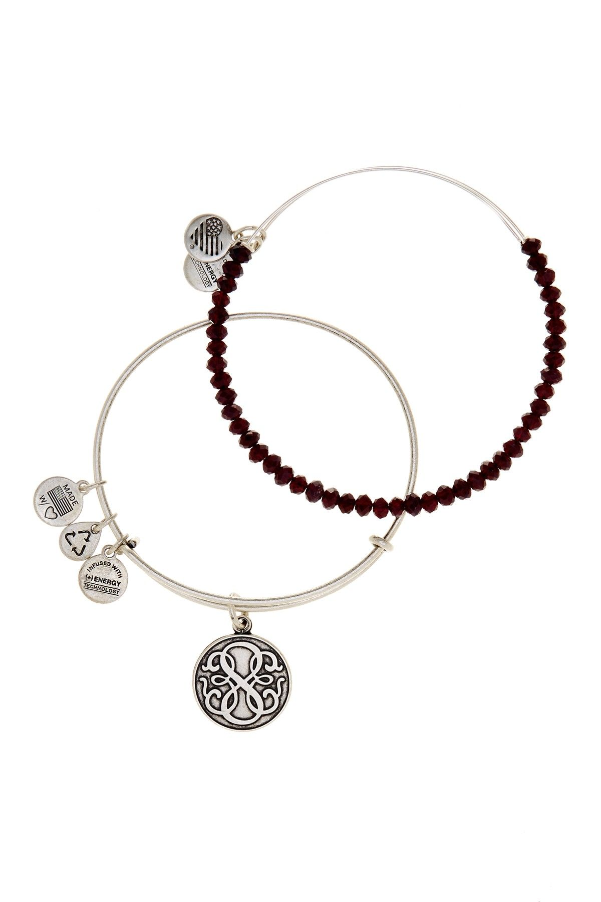 Alex And Ani Stardust Beaded Expandable Wire Bangle Set Of