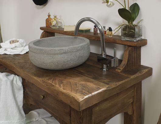 mobile da bagno di derivazione da vecchio tavolo realizzato in ... - Arredo Bagno Rovere