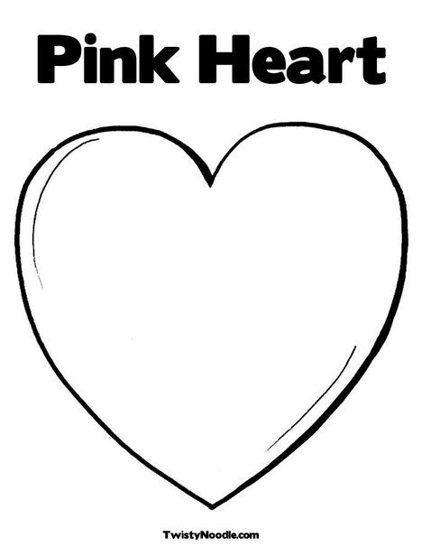 Pink Heart Coloring Page From Twistynoodle Com Coracao