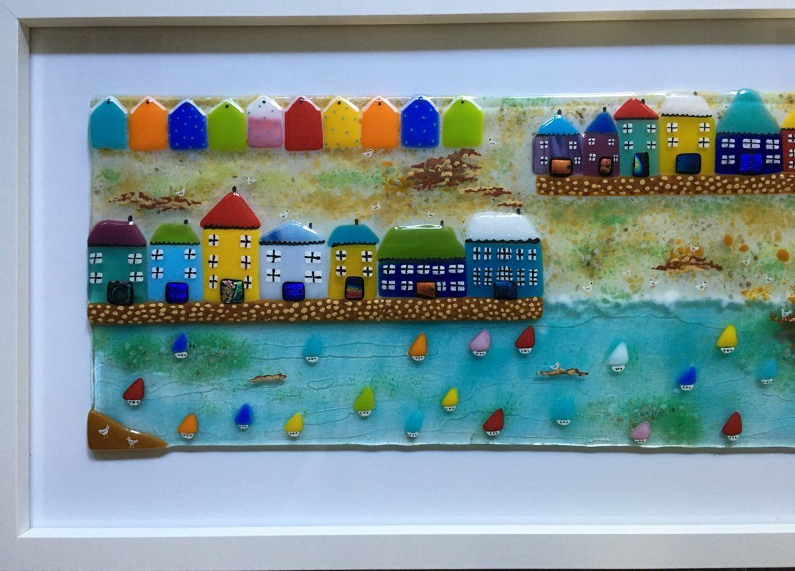 Fused glass cornish seaside harbour houses boats poldark