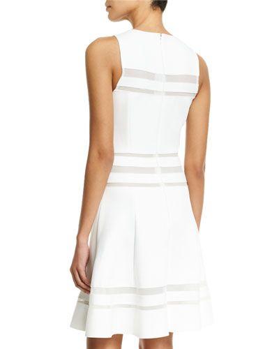 W0ABR Carolina Herrera Sleeveless Striped-Lace A-Line Dress, White