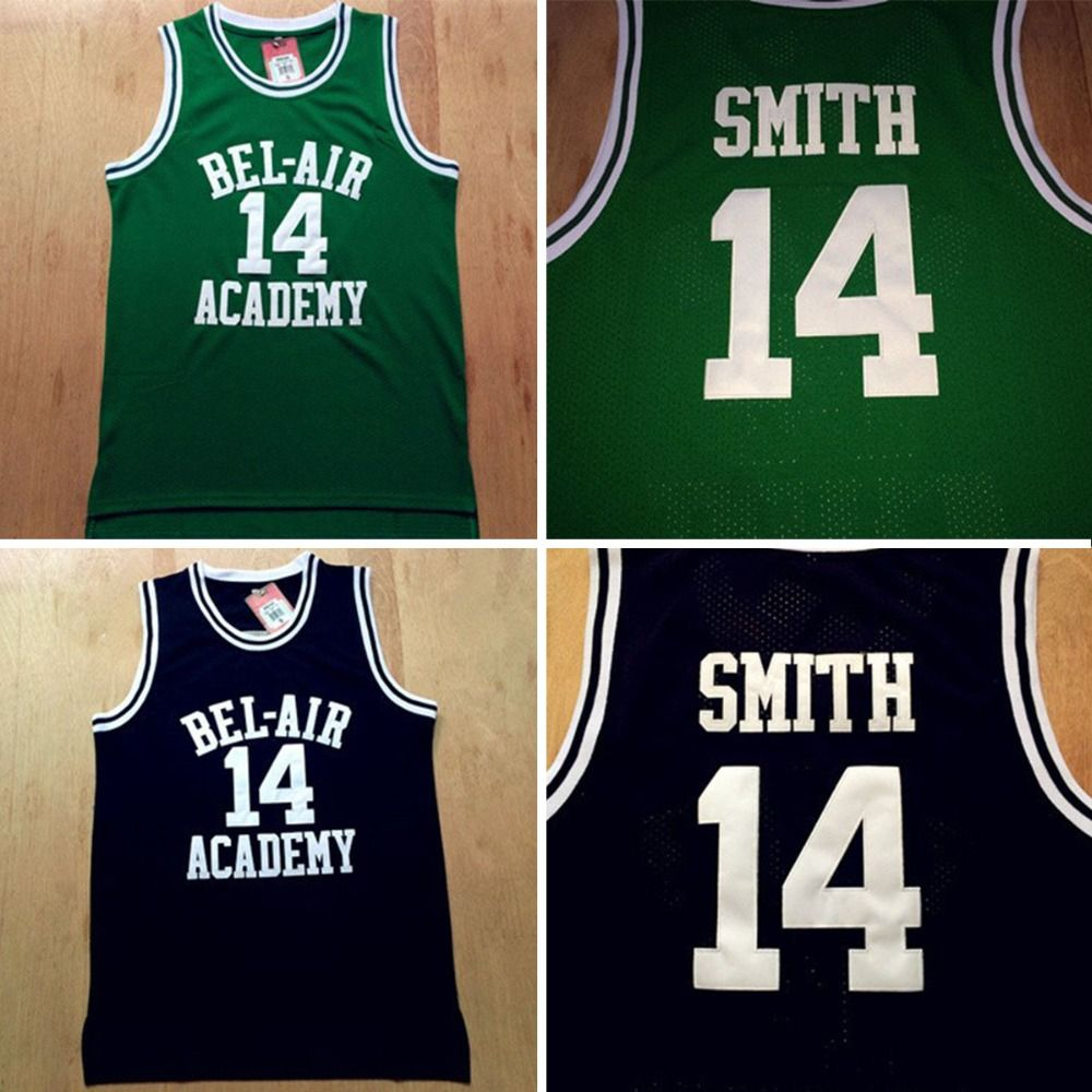 515e4d9a3c9f Aliexpress.com   Buy Fresh Prince Jersey 14 Will Smith Jersey Green and  Black Bel Air Academy Basketball Jerseys Stitched from Reliable jersey club  ...